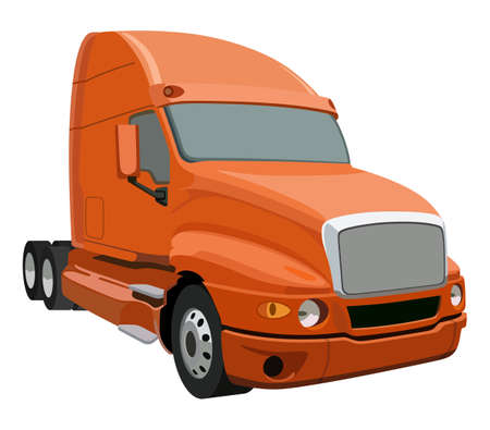 truck trailer: Orange truck without a trailer on a white background Illustration