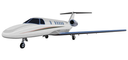private jet: Jet on wheels on white background