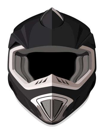 白の背景に黒のオートバイのヘルメット