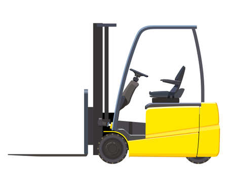 distribution picking up: Yellow forklift on white background