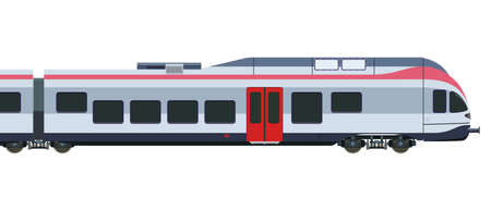 wagon: Detailed high-speed train on a white background