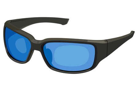 Blue sunglasses sports on a white background Illustration
