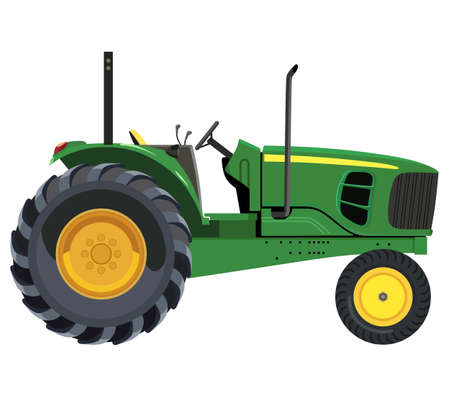 agronomics: Green tractor a side view on white background