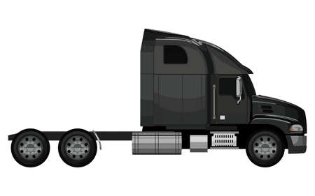 semitruck: Black truck without a trailer on a white background