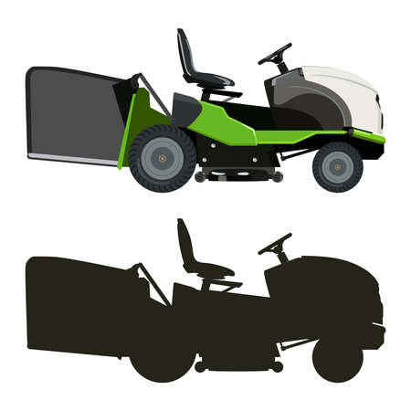 lawn: Green lawnmower on a white background