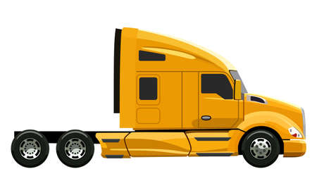 truck trailer: Yellow truck without a trailer on a white background