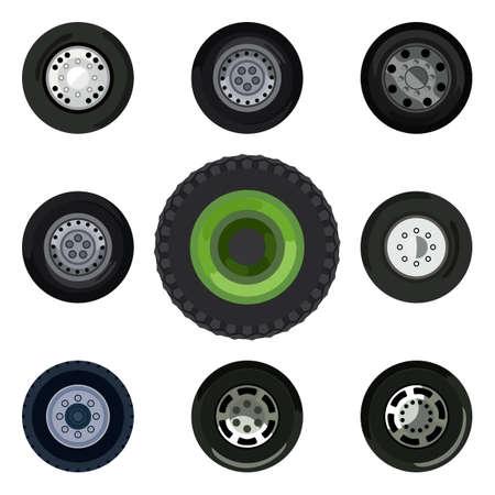 land transport: Different wheels on land transport Illustration