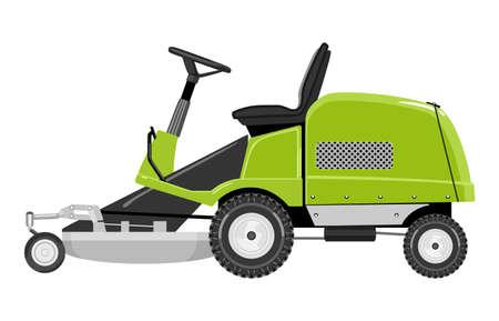 Grüne Rasenmäher auf einem weißen Hintergrund Standard-Bild - 49889583