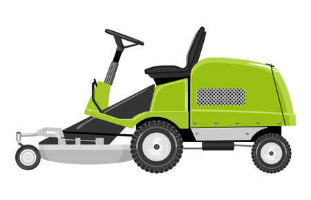 mower: Green lawnmower on a white background