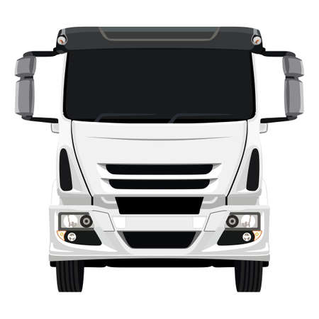 Front of the truck on a white background Vectores