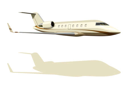 private jet: Jet airplane with the silhouette on a white background Illustration