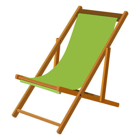 chaise lounge: Green wooden chaise lounge on a white background