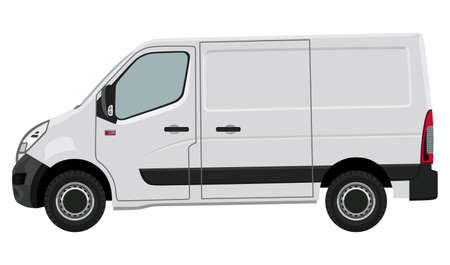commercial vehicle: The front side of the light commercial vehicle on a white background