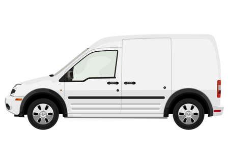 Côté du véhicule utilitaire léger sur un fond blanc Vecteurs