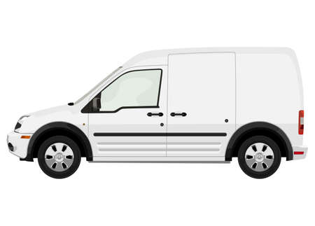 Side of the light commercial vehicle on a white background Vector Illustration