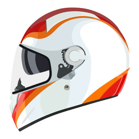 motorcycle racing: Motorcycle helmet on a white background Illustration
