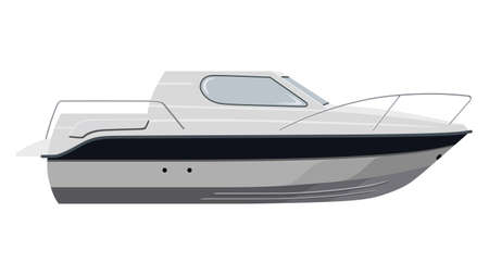 cruising: White motorboat on white background