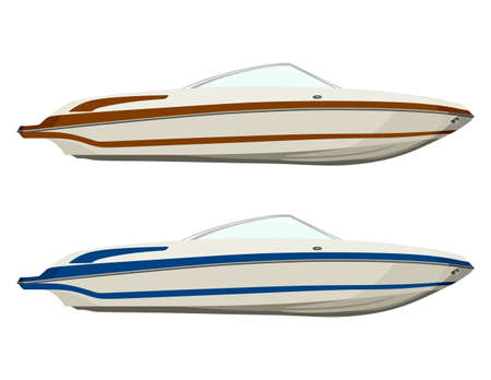 boarded: Set pleasure boats of different colors