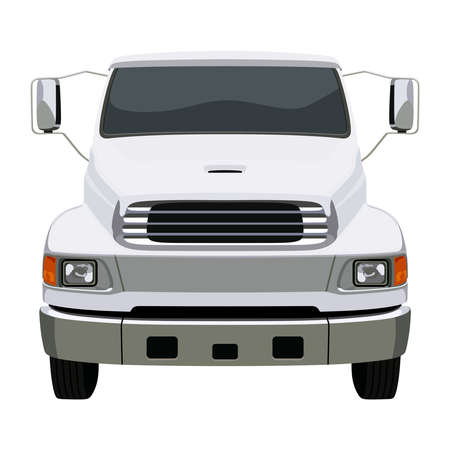 remote view: Front white truck on white background Illustration