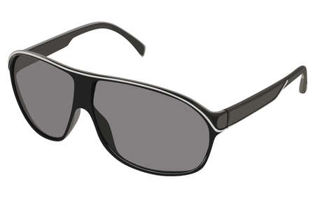 eyewear fashion: Gray sunglasses side view on a white background