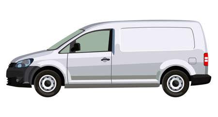 Side of the light commercial vehicle on a white background Ilustração