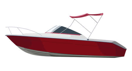 Red motorboat on isolated background