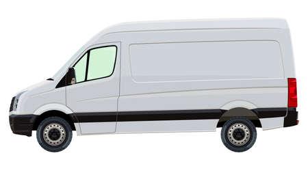 Przednia strona lekkiego pojazdu użytkowego na białym tle