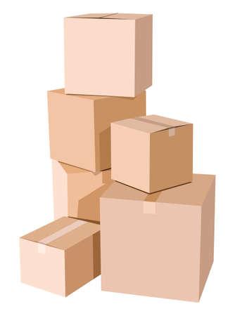 Pile de boîtes en carton sur un fond blanc