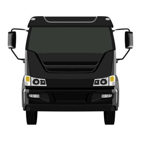 remote view: Front black truck on white background