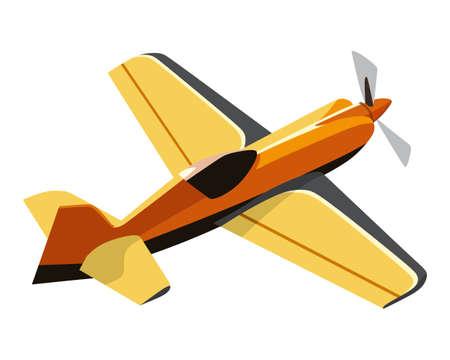 Screw yellow plane on a white background