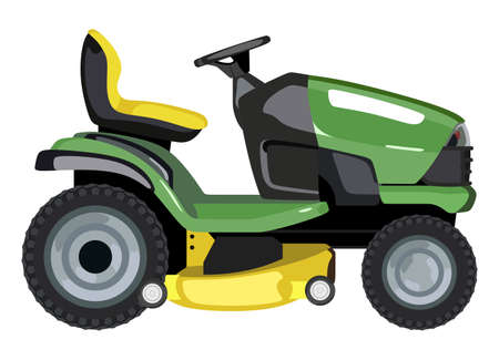 Green lawnmower on a white background