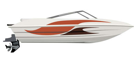 tripping: Small motorboat on white background