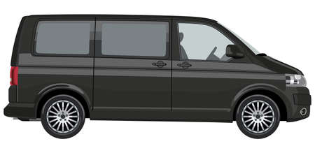 commercial vehicle: Side of the light commercial vehicle on a white background Illustration