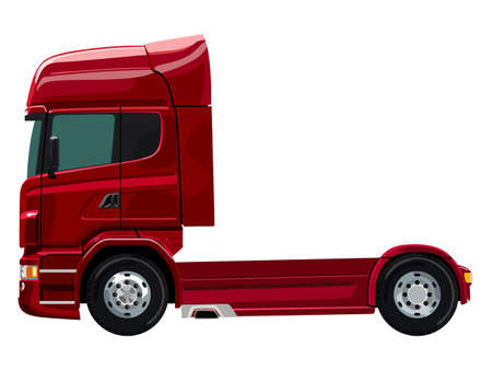 icon red: Red truck without a trailer on a white background