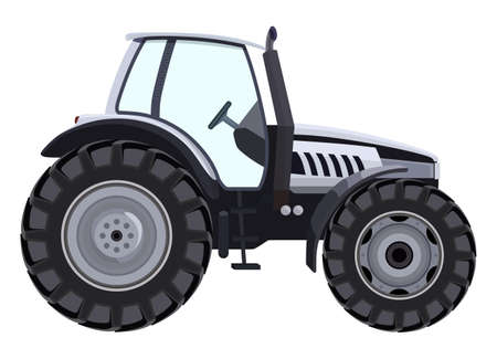 agronomics: Tractor a side view on white background Illustration