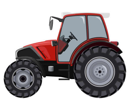 agronomics: Red tractor a side view on white background