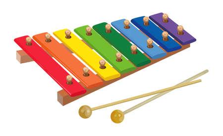 xilofono: xilófono del arco iris de los niños sobre un fondo blanco