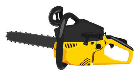 Yellow chainsaw on a white background Illustration