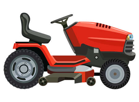 Red lawnmower on a white background Illustration
