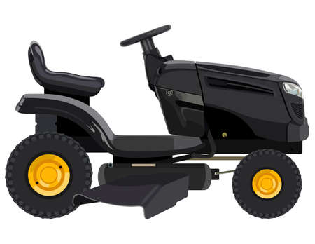 mowing the grass: Black lawnmower on a white background