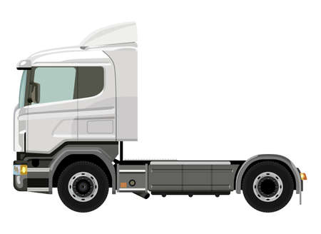semitruck: White truck without a trailer on a white background Illustration