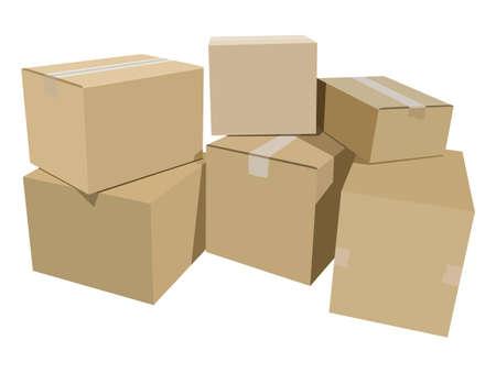 Pile of cardboard boxes Illustration