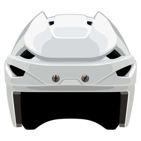 White hockey helmet on a white background
