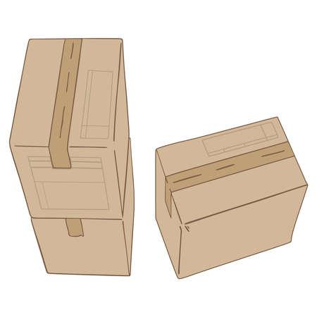 Pile of cardboard boxes illustration.