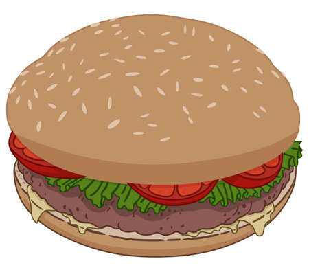 Hamburger with meat and tomatoes illustration. Illustration