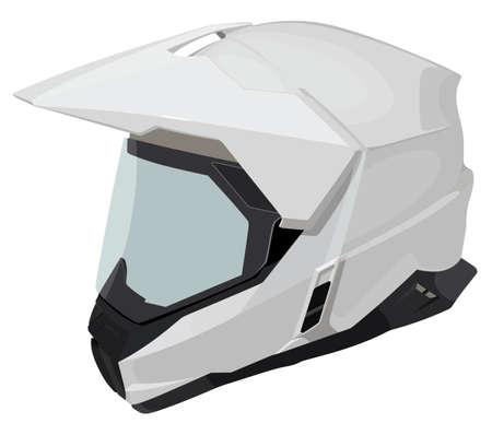 White motorcycle helmet  illustration.