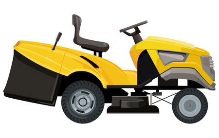 Yellow lawnmower  illustration.