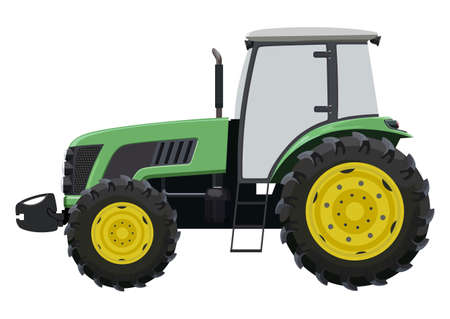 Green tractor a side view  illustration.