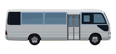 A Small passenger bus on a white background