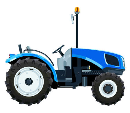 Blue mini tractor a side view on white background Illustration